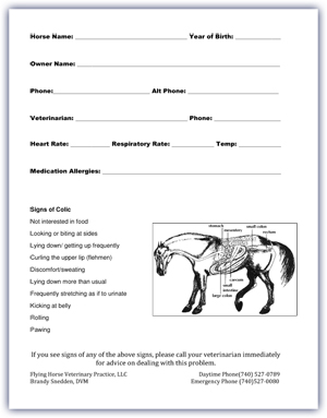 Colic Stall Card